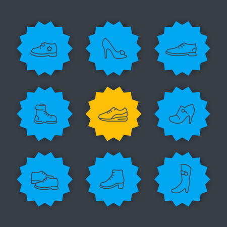 knee boots: Shoes line icons set, heels, boots, trainers signs for store, vector illustration Illustration