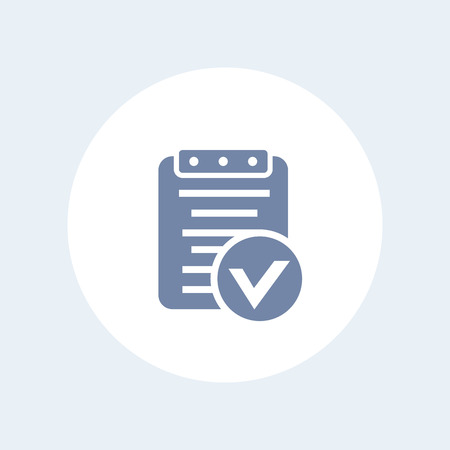 valid: valid document icon, approved report pictogram isolated on white