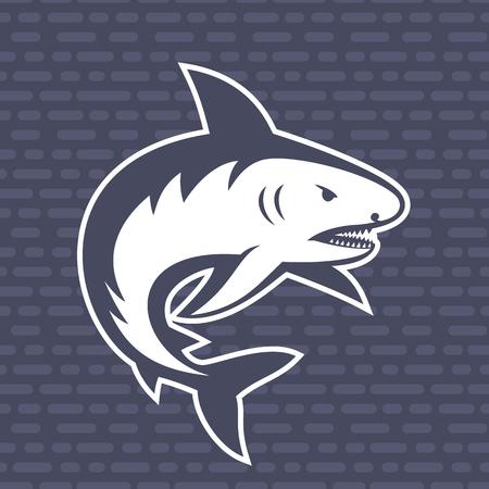 great danger: shark illustration, logo element