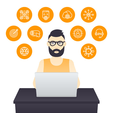 freelancer working with laptop, bearded man in glasses at work, e-commerce, internet marketing