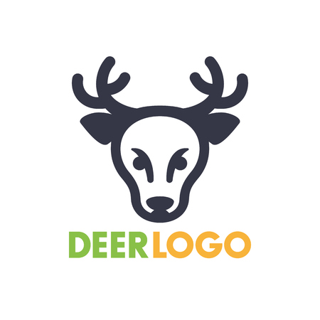 simple logo: deer logo element for national park, wildlife sanctuary, simple icon on white