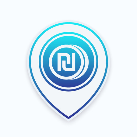 shekel coin icon on map pointer  イラスト・ベクター素材
