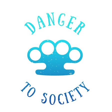 t-shirt print with brass knuckles, danger to society, blue on white