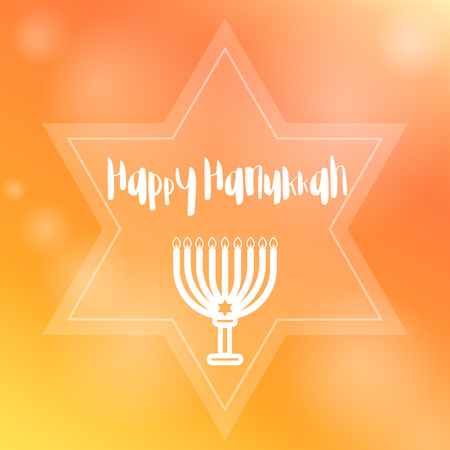 candelabra: Happy Hanukkah template with menorah (traditional candelabra), candles and star, vector illustration