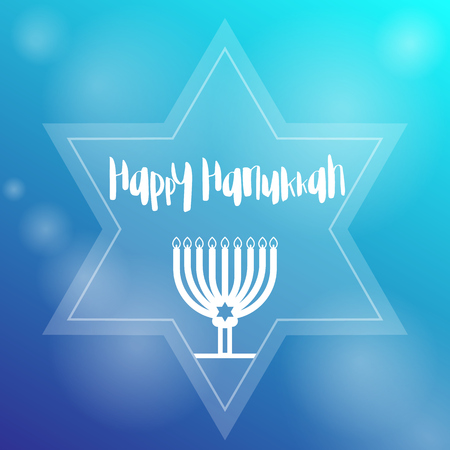 Happy Hanukkah Template With Menorah, Candles And Star Royalty Free ...