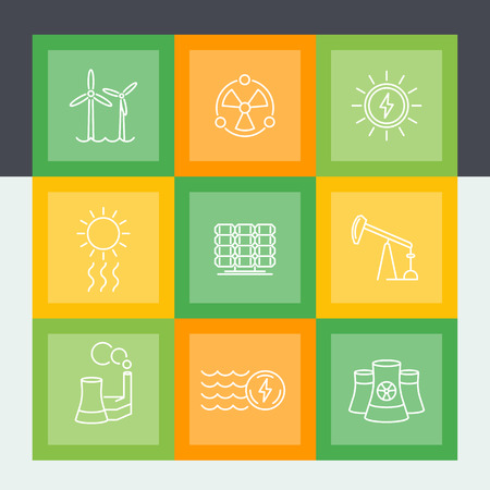 energy production: Power, energy production line icons set, alternative and traditional energetics, vector illustration Illustration