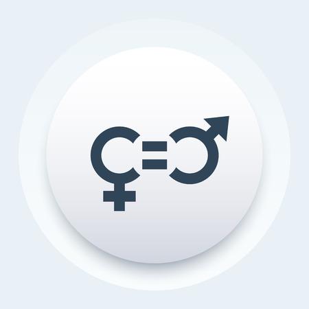 equidad: icono de la equidad de género, pictograma ronda de moda Vectores