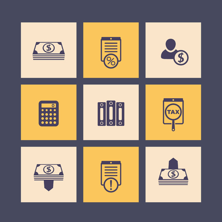 bookkeeping: Bookkeeping, finance, payroll icons set, money, accounting pictograms