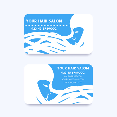 long haired: Business card design for hair salon with long haired girl, in blue and white, vector illustration