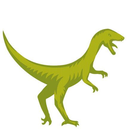raptorial: Velociraptor, predaceous dinosaur isolated over white, vector illustration Illustration