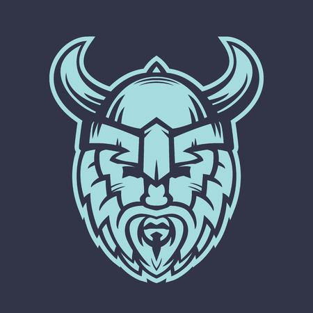 Vikings logo element, warrior in helmet with horns