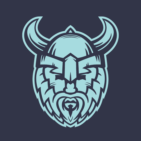 Vikings logo element, warrior in helmet with horns