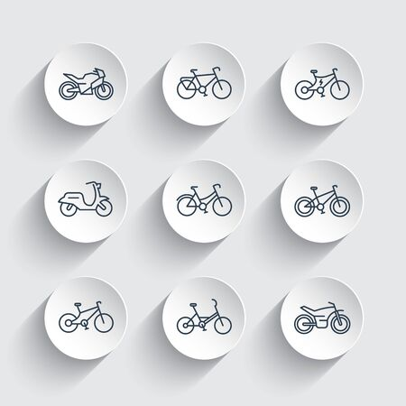 Bikes line icons set, cycling, motorcycle, motorbike, fat bike, scooter, electric bicycle Illustration