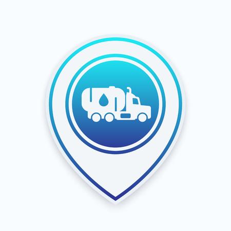 tanker: Gasoline tanker truck icon on map pointer Illustration