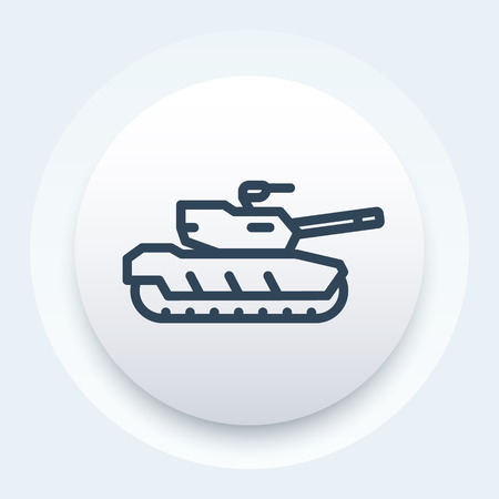 armoured: modern tank icon, armoured fighting vehicle linear pictogram