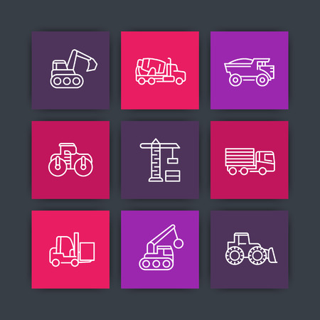excavate: construction vehicles line icons set, heavy machines, digger, crane, trucks, excavator, loader, vector illustration