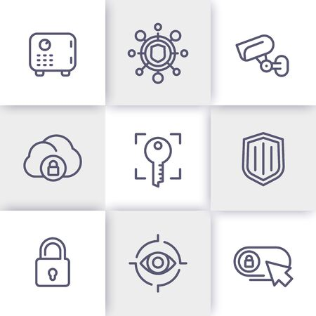 biometric: Security line icons set, secure transaction, strongbox, video surveillance, authentication, biometric recognition, safety