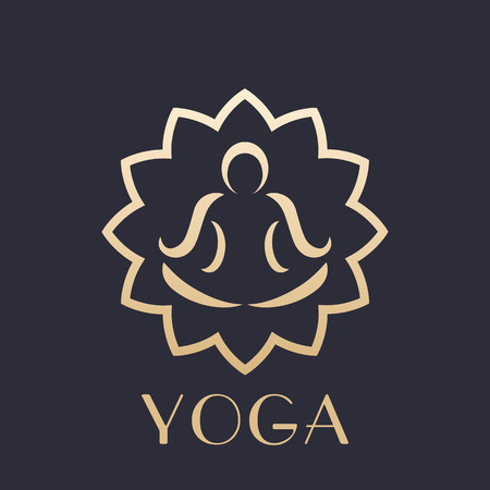 yoga logo element, outline of man in lotus position doing meditation, gold on dark Illustration