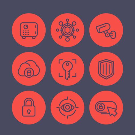 unprotected: Security line icons set, secure transaction, key, lock, shield, strongbox, video surveillance, online security, safety Illustration