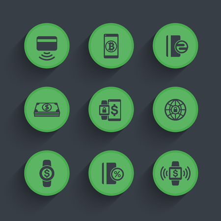 wirelessly: modern payment methods icons set, contactless card, paying with wearable devices