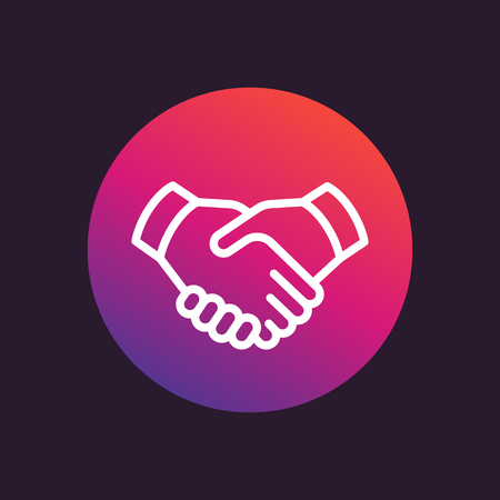 handgrip: handshake line icon, deal, partnership vector sign Illustration