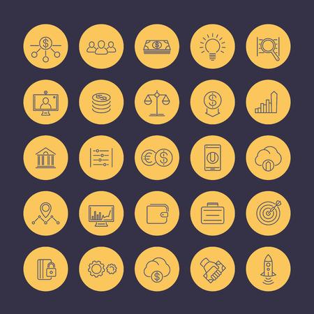 estimation: Venture capital line icons set, investments, start-up, forex, hedge fund, financing, vector illustration Illustration