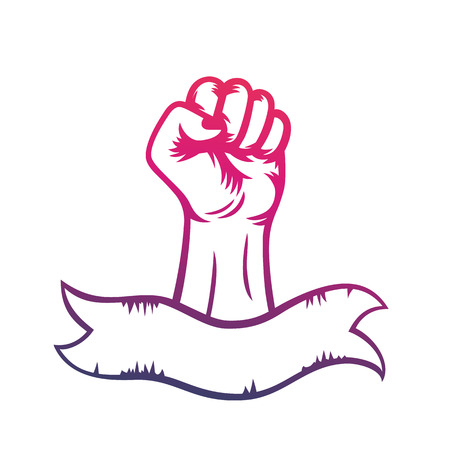 rebellion: fist raised in protest and ribbon with space for text, revolt, riot, rebellion symbol, vector illustration Illustration