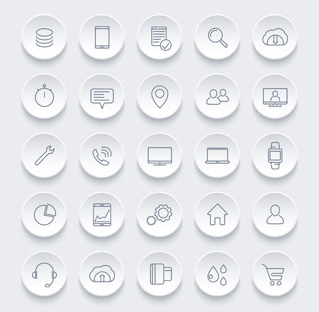 25 business, commerce, shopping, finance line icons for web and apps, vector illustration