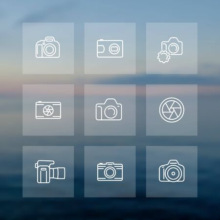 slr: camera, photography line icons set, aperture, compact, dslr, slr camera, front and side view