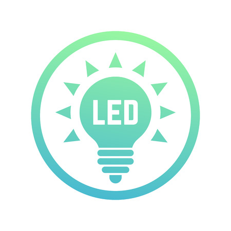 led light: led light bulb icon, vector sign