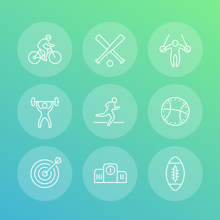 different kind of sports, line icons set, cycling, gymnastic, athletics, archery, marathon, footbal, basketball, vector illustration