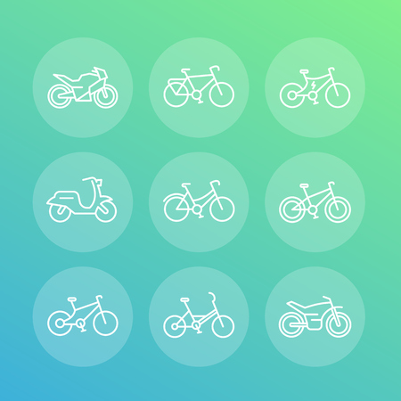 Bikes line icons set, cycling, motorcycle, motorbike, electric bicycle, fat bike, scooter, vector illustration Illustration