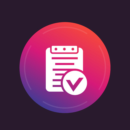 valid: valid document icon, approved report symbol, vector illustration