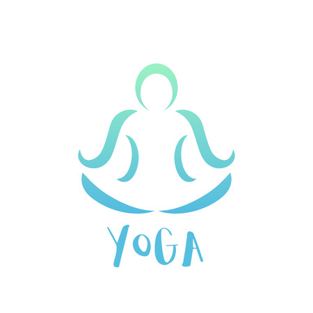 lotus position: yoga class logo element on white, man in lotus position