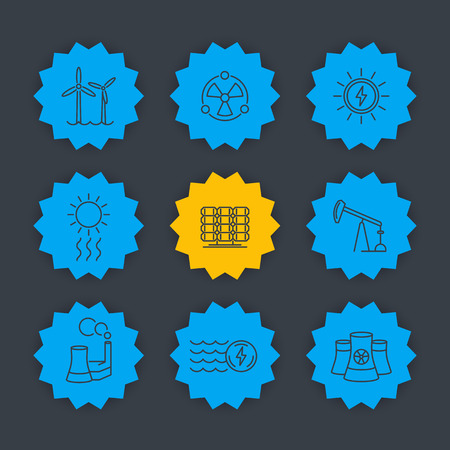 thermal power plant: Power, energy production line icons set, solar, wind, nuclear energetics, alternative and traditional energy sources
