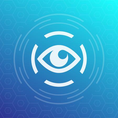 iris scan icon, biometric recognition, eye scanning, vector illustration