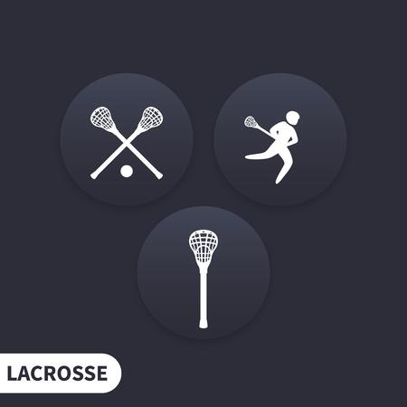 crosse: Lacrosse, stick, crosse, round dark icons