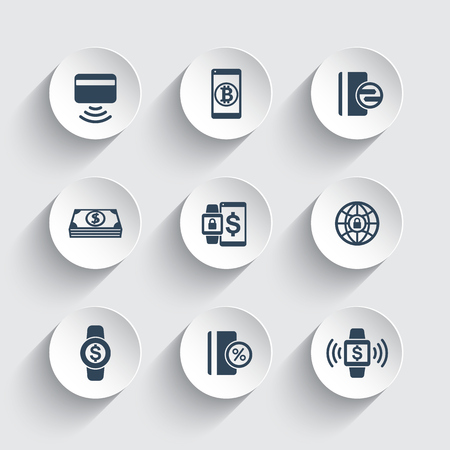 wirelessly: modern payment methods icons set, contactless card, payment with wearable devices Illustration