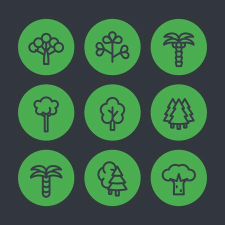 Trees line icons set, palms, firs, baobab, eucalyptus and bushes Illustration