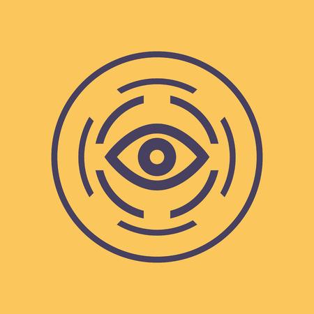 biometric: retina scan icon, biometric recognition system, eye scanner Illustration