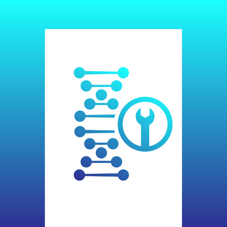 genetic modification: dna repair icon on white, genetic modification, dna chain and wrench