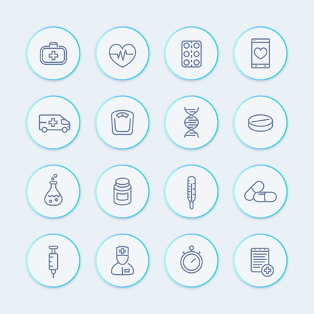 medicine line icons set, healthcare, pharmaceutics, drugs, medicine chest, ambulance, therapy, thermometer