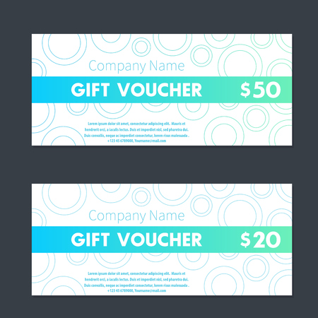 Gift Voucher Certificate Templates In Aquamarine And White Royalty