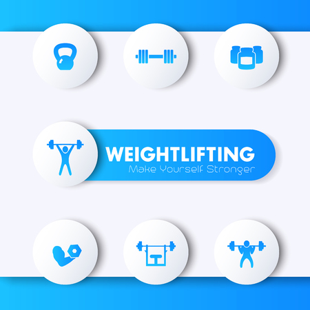 bicep curls: Weightlifting training icons set, blue pictograms, vector illustration