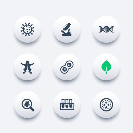 iconos de biología fijado, el virus, la división celular, microscopio, tubos de ensayo, microbio, microorganismo