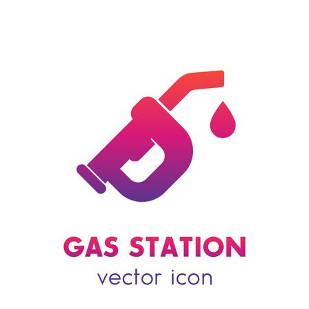 gasoline nozzle, gas station icon over white