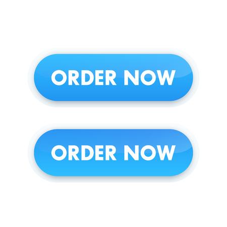 order now button for web design, blue on white Illustration
