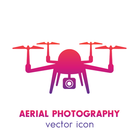 Drone Icon Aerial Photography Logo Quadrocopter With Camera Over White Stock Vector