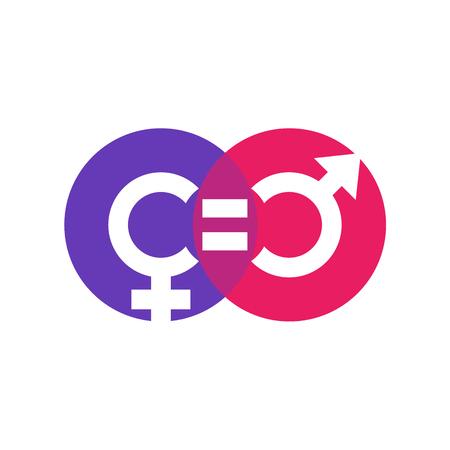 símbolo de la equidad de género, icono en blanco