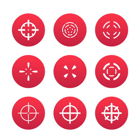 crosshairs set, elements for game design over white, vector illustration